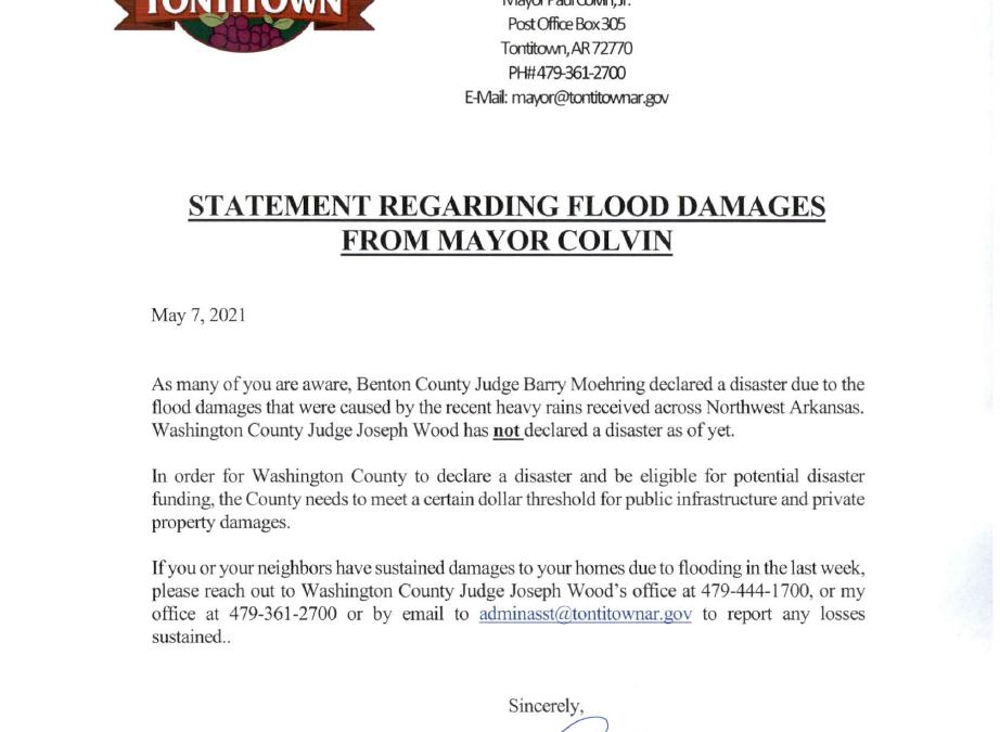 STATEMENT REGARDING FLOOD DAMAGES FROM MAYOR COLVIN
