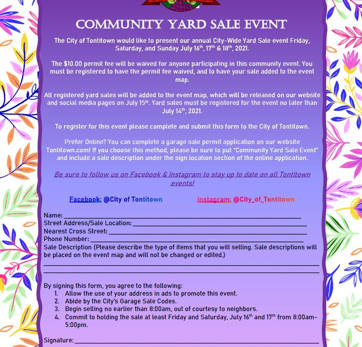 Annual Community Yard Sale Event