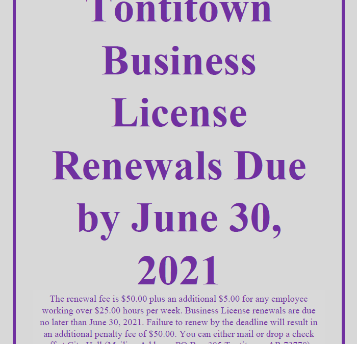 Business License Renewals Due by June 30, 2021